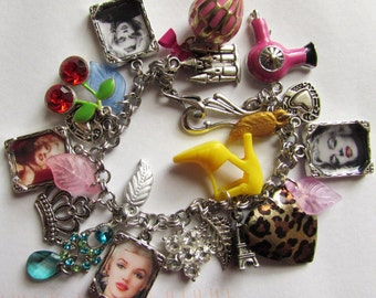 Marilyn Monroe Themed Vintage Picture Charm Bracelet.  One of a Kind