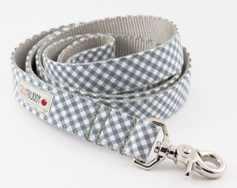 Grey Gingham Dog Leash