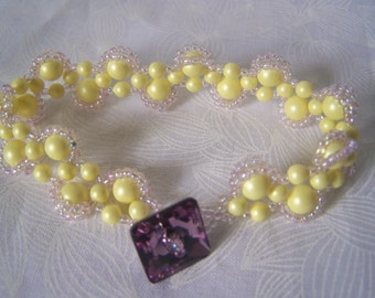 Bracelet Swarovski Pearl and Crystal Right Angle Weave