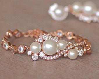 Rose Gold Bridal Bracelet, Crystal & Pearl Bracelet, Pearl Wedding Jewelry, Rose Gold Bridal Jewelry,Pink Gold Bracelet,  TILLY