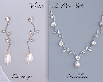 Vine Jewelry Set, Crystal Bridal Set, Wedding Jewelry Set, Necklace & Earrings Set, VINE