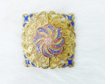 Vintage Beautiful Gold Tone & Enamel Square 2 Piece Clasp Belt Sash Buckle--FREE SHIPPING