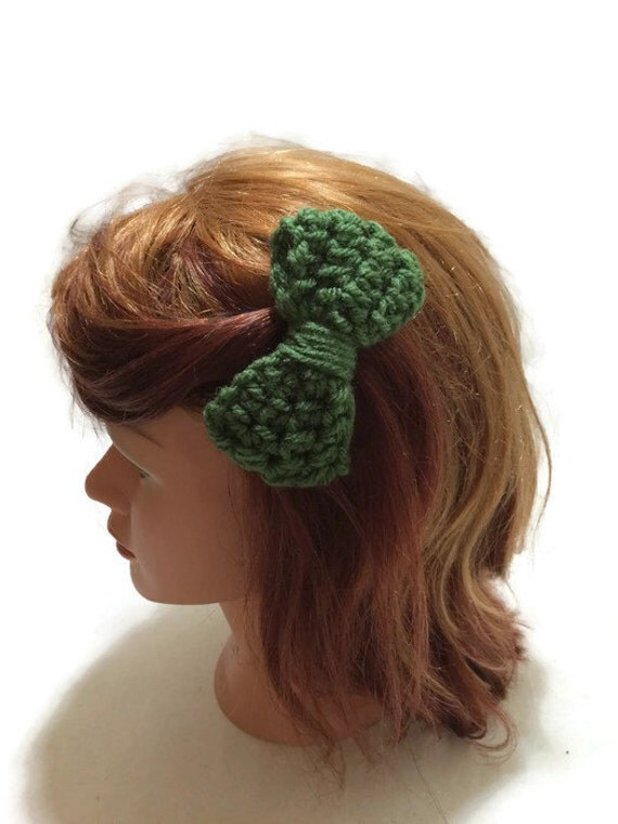 Olive Green Bow Clip Crochet Hair Bow Olive Green Hair Accessory