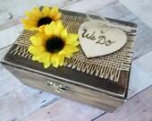 Sunflower burlap Rustic wooden ring bearer box. Country, barn, western cowboy wedding