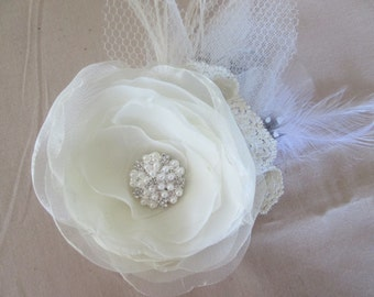 Ivory organza and feather hair accessory. Wedding fabric flower hair clip. Bridal hair clip