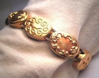 Antique Victorian Slide Bracelet Gold Art Nouveau Floral c.1900