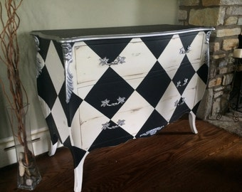 Louis XV Black & White Harlequin Commode