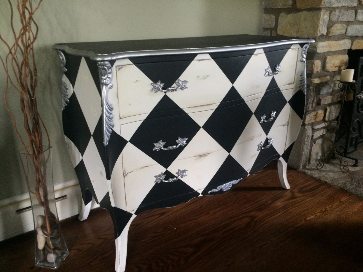 Louis xv black white harlequin commode - Commode noir et blanc ...