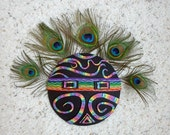 Rainbow Kachina Mask in Black and Rainbow Polymer Clay with Peacock Feathers Tribal Mask