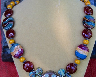 Necklace of Kazuri Beads, Carnelian, Yellow Jasper & Czech Ceramic Beads - Kalihari Sunset
