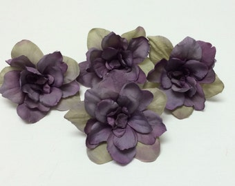 Silk Flowers - Four Delphinium Blossoms in Purple with Khaki - 3 Inches - Artificial Flowers