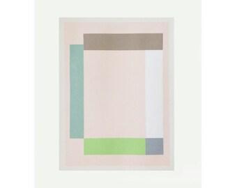 Large screenprint, geometric print, abstract original silkscreen, pink, pastel colours. Handmade modern wall decor by Emma Lawrenson.