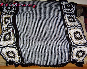 Black and White Throw Blanket, knitted and crochet blanket, striped blanket, black and white blanket, black and white decor, knitting