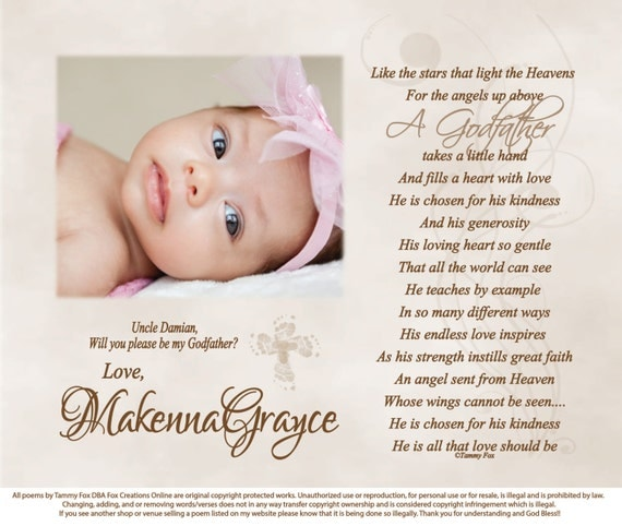 Will You Be My Godparent Personalized Poetry Print Like The
