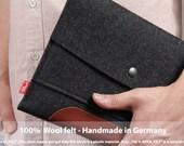 iPad Air / Air 2 with Apple Case or Keyborad, cover, sleeve, 100% Merino wool felt, vegetable tanned leather - Merino ME-T-ALB-0.6