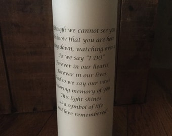 Silver banded Wedding Memorial Candle. Unity candle Remembrance, Wedding Remembrance Customized Wedding Candle, Personalized Candle, Love