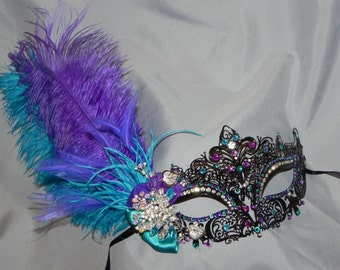 Black, Purple, Turquoise and Silver Metallic Masquerade Mask - Made to Order