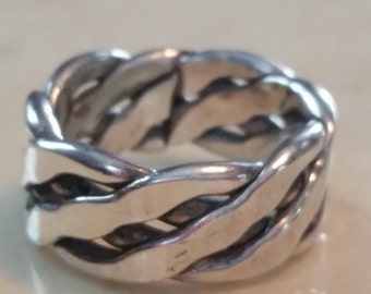 Vintage Sterling Silver Celtic Knot Band Ring 1990s Wedding Band 925 Size 9.25 Ring