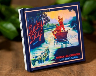Small Fishing Notebook - Lucky Day Brand- Fruit Crate Art Print Cover