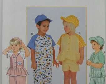 Toddler Size 2 3 4 Simplicity 8158 Top Pants or Shorts & Cap Hat Summer Casual Wardrobe Todder Boys Kids Child Girl Uncut Sew Sewing Pattern