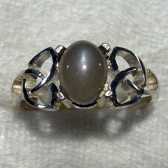 Gray Moonstone Celtic Triskel Ring Hand Crafted by ...