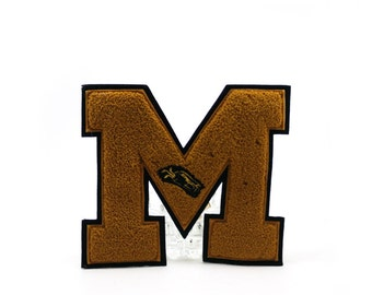 Vintage varsity letter M - golf team - Black and gold - high school or college sports letterman sweater or jacket patch, Halloween costume