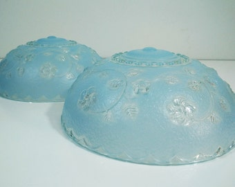 3 Chain Mount Lamp Shades / 1930s blue nouveau Ceiling Light glass globe shades matched pair