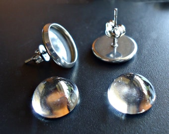 Stainless Steel Earring Posts - Bezel Trays, Earnuts, and Glass Cabochons - 12 mm