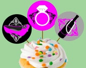 Instant Download Wine Shoe Ring Bridal Shower Party Cupcake Toppers or Craft Circles