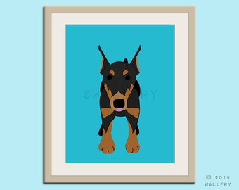 Doberman print puppy dog nursery decor. Dog nursery print. Art for children, kids decor. Custom dog art kids. Art print by WallFry