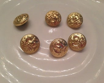 All the same button - 6 vintage gold metal shank buttons