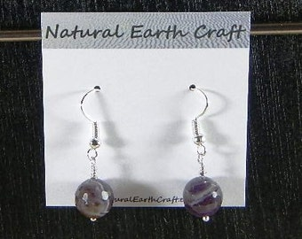Dark purple faceted amethyst earrings semiprecious stone jewelry gemstone February birthstone packaged in a gift bag 2878  B