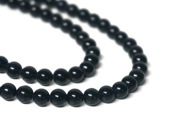 6mm Black Obsidian beads, round natural gemstone bead, FULL and HALF strands available (463S)