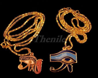 Egyptian Two Lovely Brass Enameled Eye Of Horus Necklaces halloween