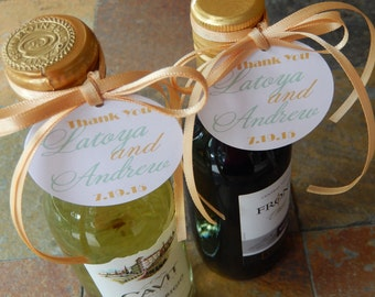 "Thank You Custom 2"" Mini Wine Bottle Favor Tags - For Wedding - Rehearsal Dinner - Birthday - Anniversary - Engagement Party - (108) Tags"