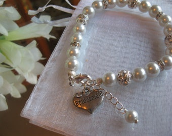 Bridesmaid Pearl and Rhinestone Charm Bracelet/Maid of Honor/Sister of the Bride/Bride/Bridal Party Jewelry/Wedding Jewelry