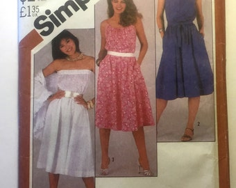 80s Simplicity 5498 Sun Dress, Strapless or Square Neckline Flared Size 14 Bust 36