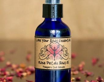 Massage oil,  rose petals, Floral body oil, rose massage oil, rose oil, rose body oil, rose perfume