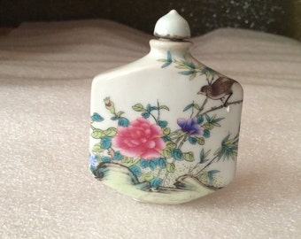 Vintage Hand Painted Sparrow on a branch looking upon Flowers Snuff Bottle