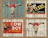 Instant Download Digital Art Print Four Pack Cowboy Kitsch Western Funk Texas Chippy Fence Wall Graphic Horse Old Ad Kitchen Home Decor