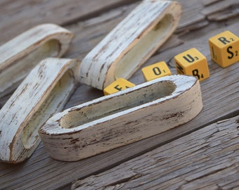 Napkin rings distressed wood white vintage set of 4 dinner party cottage