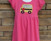 SALE SALE SALE! Girls Appliqued Knit Empire Waist Dress, Back to School, First Day of School