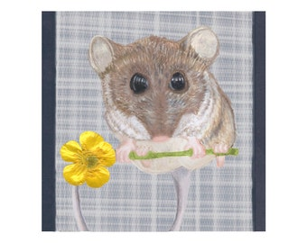 Mouse Holds Yellow Flower Artwork- Square Art Print