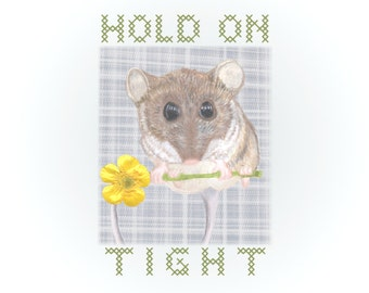 Mouse Holds Yellow Flower Artwork- Hold on Tight Square Art Print