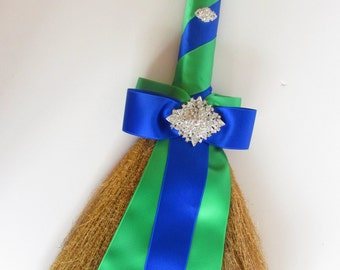 Wedding Jumping Broom, Wedding Broom, African American Jump Broom Royal Blue & Emerald Custom Made