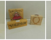 Lot of 7 rubber stamps, gently used architectural, floral, quotes