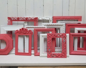 Coral and White custom  Gallery Wall Frame Set  Shabby Chic Decor for Girl's Room or  Baby Girl Nursery frame set