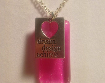 Hand Painted Glass Pendant  --  NEW  --  Pink Glitter  --  One of a Kind  --  (#1234)
