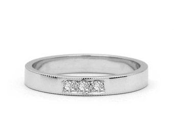 Three Stone Wedding Band - Three Stone Anniversary Band - Diamond Wedding Ring