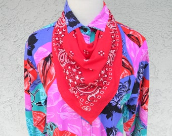 Southwestern Bandana - Vintage 80s Red and White Bandana Scarf - 100% Cotton - Paisley Print - Made in the USA - American Made by PARIS